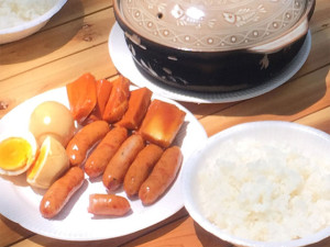ご飯と燻製